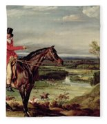 John Levett Hunting In The Park At Wychnor Fleece Blanket