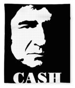 Johnny Cash Black And White Pop Art Fleece Blanket