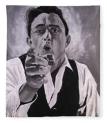 Johnny Cash Portrait Fleece Blanket