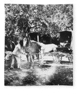Johnston Horse Wagon Fleece Blanket
