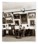 Joseph Kurtz Oliver Artist In His Studio Monterey Circa 1905 Fleece Blanket