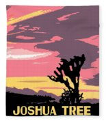 Joshua Tree National Park Vintage Poster Fleece Blanket