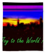 Joy To The World - Empire State Christmas And Holiday Card Fleece Blanket