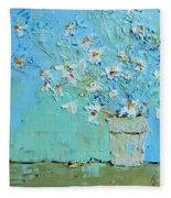 Joyful Daisies, Flowers, Modern Impressionistic Art Palette Knife Oil Painting Fleece Blanket