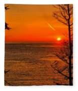 Juan De Fuca Sunset Fleece Blanket