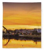 Jubia Bridge Panorama Neda Naron Galicia Spain Fleece Blanket