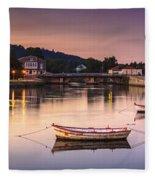 Jubia River Panorama Neda Naron Galicia Spain Fleece Blanket