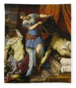 Judith And Holofernes Fleece Blanket