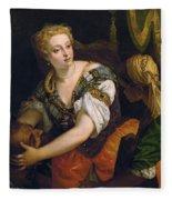 Judith With The Head Of Holofernes Fleece Blanket