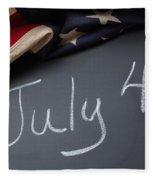 July 4 Sign On Chalkboard Fleece Blanket
