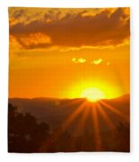 Jump Off Rock Sunset Flare Fleece Blanket