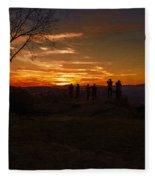Jump Off Rock Sunset Silhouettes Fleece Blanket