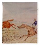 Jumping A Fence Fleece Blanket
