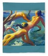Jumping Mermaids Fleece Blanket