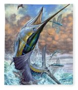 Jumping Sailfish And Flying Fishes Fleece Blanket