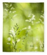 June Green Grass Flowering Fleece Blanket