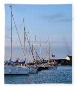 June Morning - Lyme Regis Harbour Fleece Blanket
