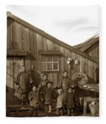 Jung San Choy And Chinese Family Pescadero Village Pebble Beach California Circa 1895 Fleece Blanket