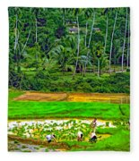Jungle Homestead Paint Version Fleece Blanket