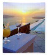 Just Before Sunset In Santorini Fleece Blanket