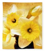 Just Plain Daffy 1 - Flora - Spring - Daffodil - Narcissus - Jonquil Fleece Blanket