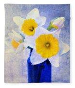 Just Plain Daffy 2 In Blue - Flora - Spring - Daffodil - Narcissus - Jonquil  Fleece Blanket