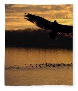 Juvenile Eagle Golden Sunset Fleece Blanket