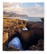 Ka'ena Point Natural Bridge Fleece Blanket