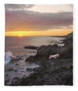 Kaena Point Sea Arch Sunset - Oahu Hawaii Fleece Blanket