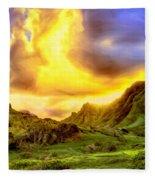 Kahana Valley Sunset Fleece Blanket