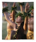 Kahiko Hula Dancers Fleece Blanket