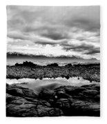 Kaikoura Coast New Zealand In Black And White Fleece Blanket