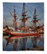 Kalmar Nyckel At Anchor In Salem Ma Fleece Blanket