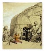 Kalmuks With A Prayer Wheel, Siberia Fleece Blanket