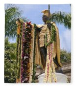 Kamehameha Covered In Leis Fleece Blanket