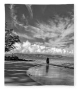 Kanahna Beach Maui Hawaii Panoramic Fleece Blanket