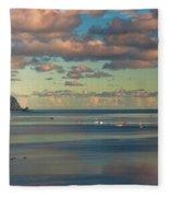 Kaneohe Bay Panorama Mural Fleece Blanket