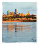 Kansas City Downtown From Kaw Point Fleece Blanket