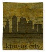 Kansas City Missouri City Skyline Silhouette Distressed On Worn Peeling Wood Fleece Blanket
