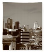 Kansas City Skyline 10 Fleece Blanket