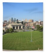 Kansas City Skyline And Park Fleece Blanket