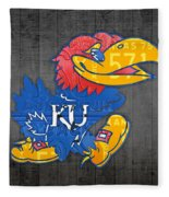 Kansas Jayhawks College Sports Team Retro Vintage Recycled License Plate Art Fleece Blanket