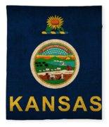 Kansas State Flag Art On Worn Canvas Fleece Blanket