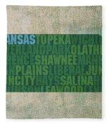 Kansas Word Art State Map On Canvas Fleece Blanket