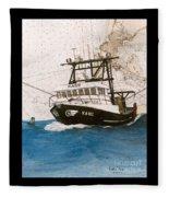 Karis Trawl Fishing Boat Nautical Chart Art Fleece Blanket