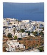 Kastro Village In Sifnos Island Fleece Blanket