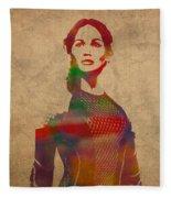Katniss Everdeen From Hunger Games Jennifer Lawrence Watercolor Portrait On Worn Parchment Fleece Blanket