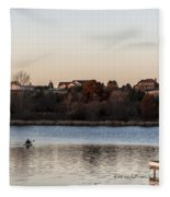 Kayak At Sunset Fleece Blanket