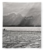 Kayakers On Jackson Lake Fleece Blanket