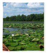 Kayaking Among The Waterlillies Fleece Blanket